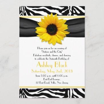 sweet 16 birthday invite | sunflower zebra print