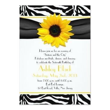 Small Sweet 16 Birthday Invite | Sunflower Zebra Print Front View