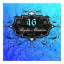sweet 16 birthday jewel chandelier frame blue invitation