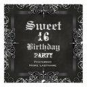 sweet 16 birthday party chalkboard black antique invitation