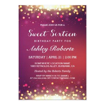 Small Sweet 16 Birthday Party Gold Shimmer Sparkles Invitations Front View