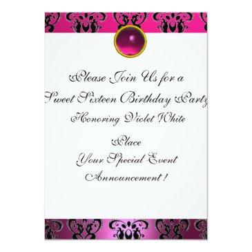 Small Sweet 16 Birthday Party,pink Fuchsia Black Damask Invitation Back View