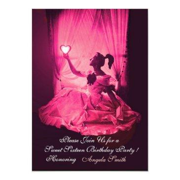 Small Sweet 16 Birthday Party,pink Fuchsia Black Damask Invitation Front View