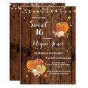 sweet 16 birthday party pumpkin rustic wood invite