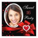 sweet 16 birthday party red heart photo silver invitation