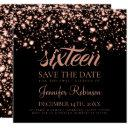 sweet 16 birthday party rose gold midnight glam invitation