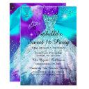 sweet 16 birthday party teal purple balloons invitation