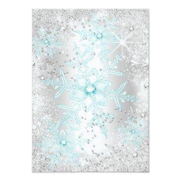 Small Sweet 16 Birthday Teal Silver Winter Wonderland Invitation Back View