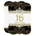 sweet 16 black gold diamond glamour birthday invitations