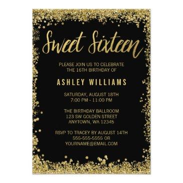 sweet 16 black gold glitter birthday