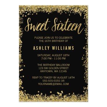 sweet 16 black gold glitter birthday invitation