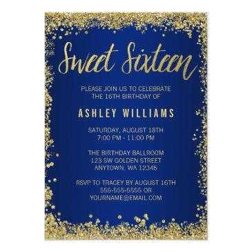 sweet 16 blue gold glitter birthday invitations