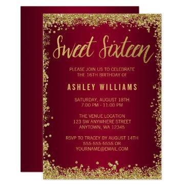 sweet 16 burgundy gold glitter birthday invitation