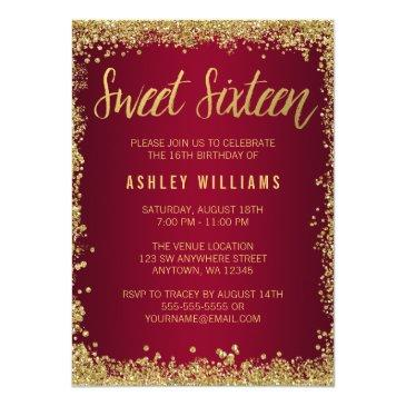 sweet 16 burgundy gold glitter birthday