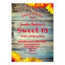 sweet 16 country rustic and floral birthday party invitation
