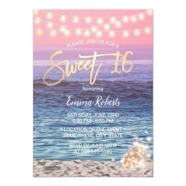sweet 16 elegant pink beach mason jar string light invitation