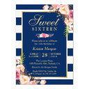 sweet 16 elegant pink floral navy blue stripes invitation