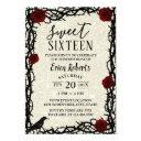 sweet 16 fairytale red rose & thorn modern glitter invitation