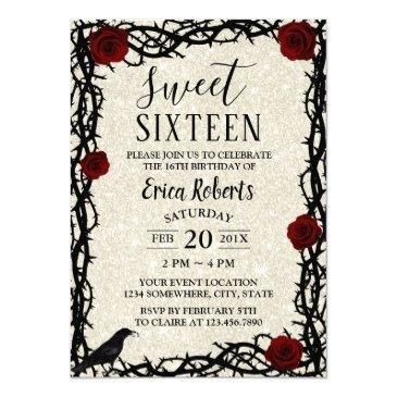 sweet 16 fairytale red rose & thorn modern glitter invitation