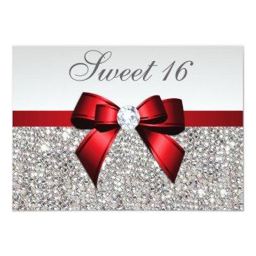 Small Sweet 16 Faux Silver Sequins Diamonds Red Bow Invitations Front View
