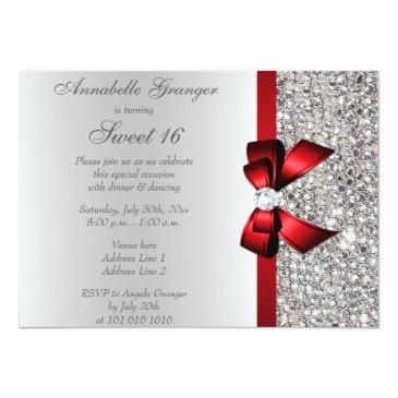 Small Sweet 16 Faux Silver Sequins Diamonds Red Bow Invitations Back View