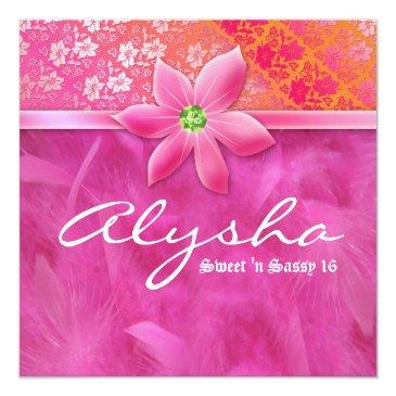 sweet 16 feather boa lace floral pink invitation