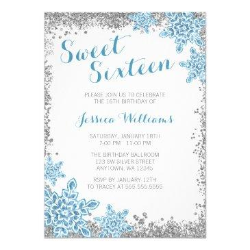 sweet 16 glam winter wonderland silver blue invitations