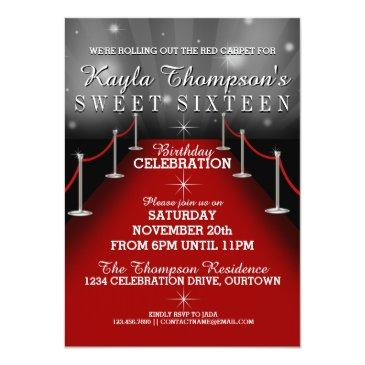 Small Sweet 16 Glamorous Red Carpet Party Invitations Front View