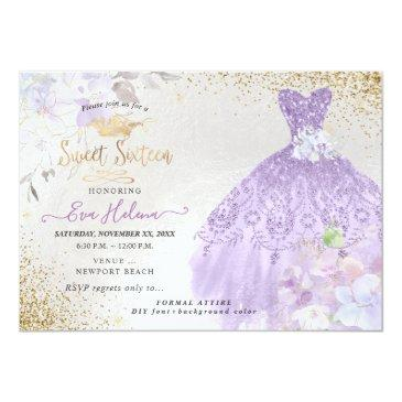 Small Sweet 16 Glitters Gown Dusty Purple Lilac Gold Invitation Front View