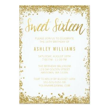 Small Sweet 16 Gold White Faux Glitter Birthday Invitations Front View