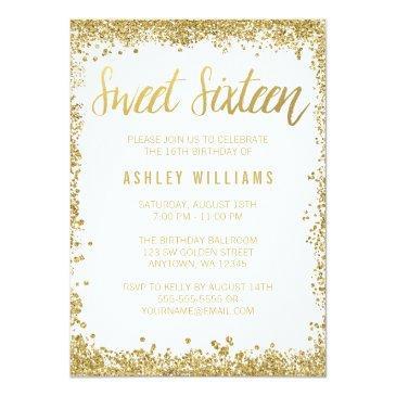 sweet 16 gold white faux glitter birthday invitations