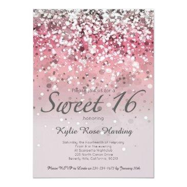 Small Sweet 16 Invitation Pink Glitter Ombre Modern Front View