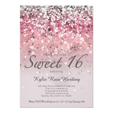 sweet 16 invitation pink glitter ombre modern invitations