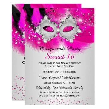 sweet 16 lace mask hot pink silver masquerade