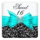 sweet 16 luxury glitter teal bow black white invitations