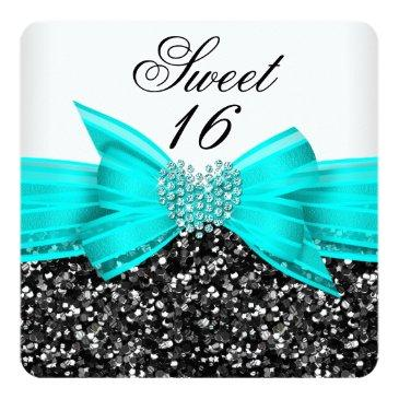 Small Sweet 16 Luxury Glitter Teal Bow Black White Invitations Front View