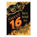 sweet 16 masquerade costume party invitation