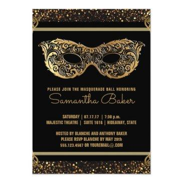 Small Sweet 16 Masquerade Party | Sweet Sixteen Gold Invitation Front View