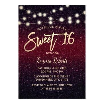 sweet 16 modern burgundy red faux glitter invitation