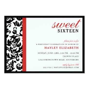Small Sweet 16 Modern Damask With Border, Red Invitations Front View