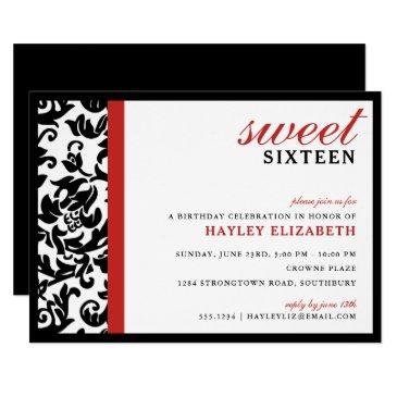 sweet 16 modern damask with border, red invitation