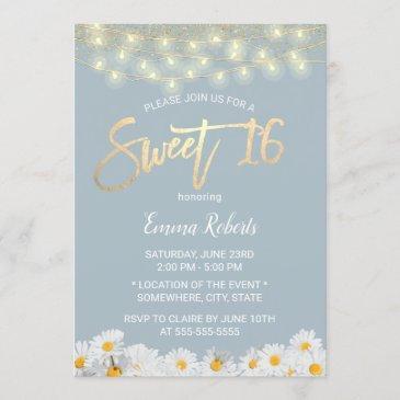 sweet 16 modern dusty blue daisy flowers invitation