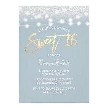Small Sweet 16 Modern Dusty Blue Silver Glitter Invitation Front View