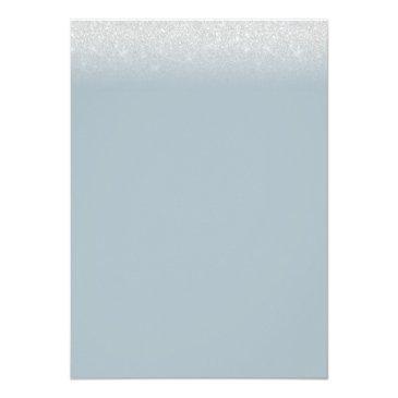 Small Sweet 16 Modern Dusty Blue Silver Glitter Invitation Back View