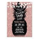 sweet 16 modern rose gold glitter pineapple invitation