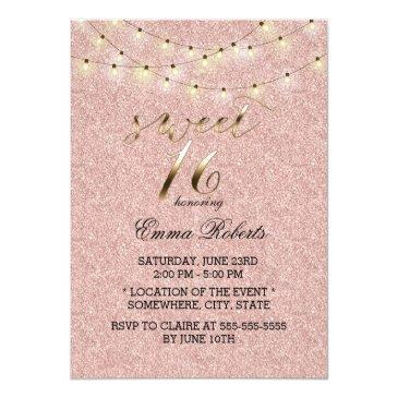 Small Sweet 16 Modern Rose Gold Glitter String Lights Invitations Front View