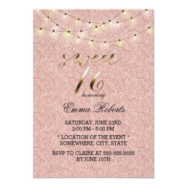 sweet 16 modern rose gold glitter string lights