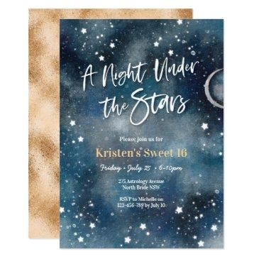 sweet 16 night under the stars party invitation