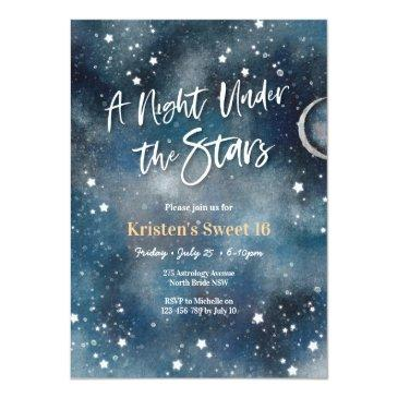 Small Sweet 16 Night Under The Stars Party Invitation Front View