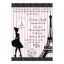 sweet 16 paris passport pink & black invitations